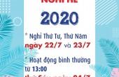 THÔNG BÁO NGHỈ HÈ 2020